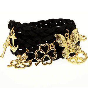 Timi Suede Wrap Charm Bracelet in Black/Gold